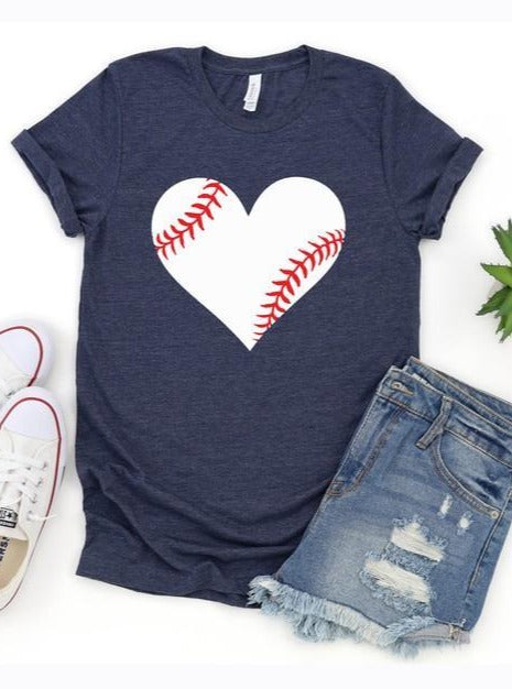Baseball Heart Graphic Tee