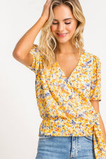 Yellow Floral Surplice Blouse
