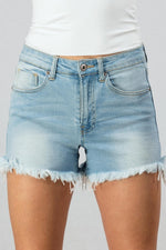 Light Wash Denim Raw Hem Shorts - Lilac&Lemon