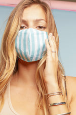 Mint Stripe Face Mask - Lilac&Lemon