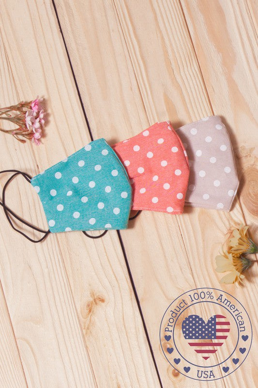 Polka Dot Face Mask (Multiple Colors Available) - Lilac&Lemon