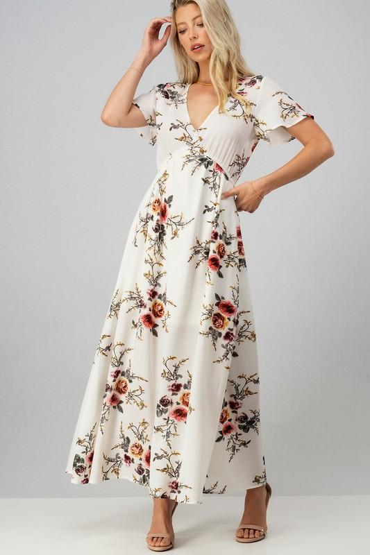 Ivory Floral Maxi Dress