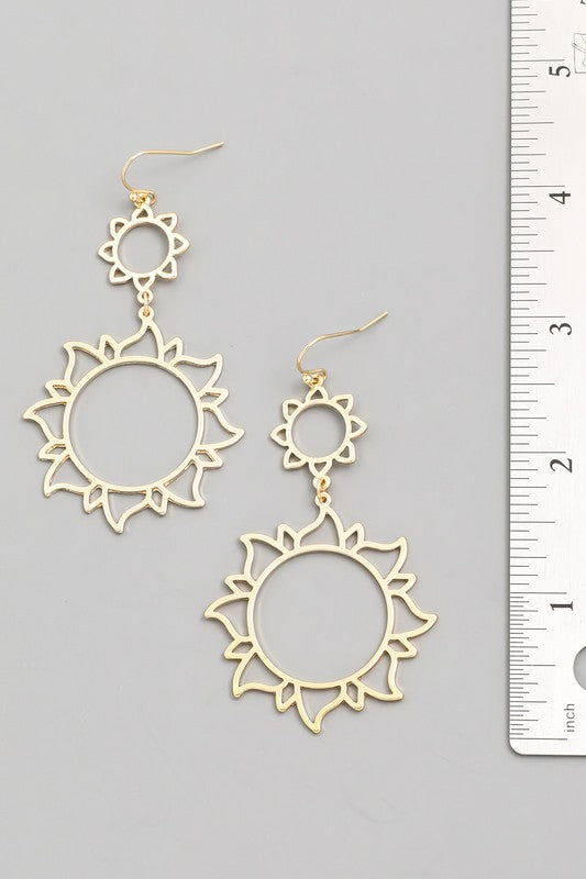 Gold Sun Earrings - Lilac&Lemon