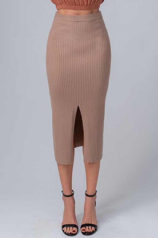 Taupe Ribbed Midi Skirt - Lilac&Lemon