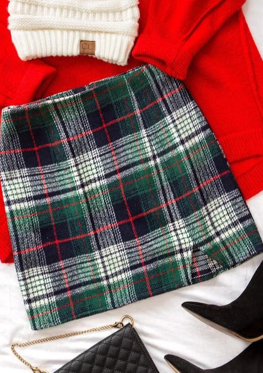 Green Plaid Mini Skirt
