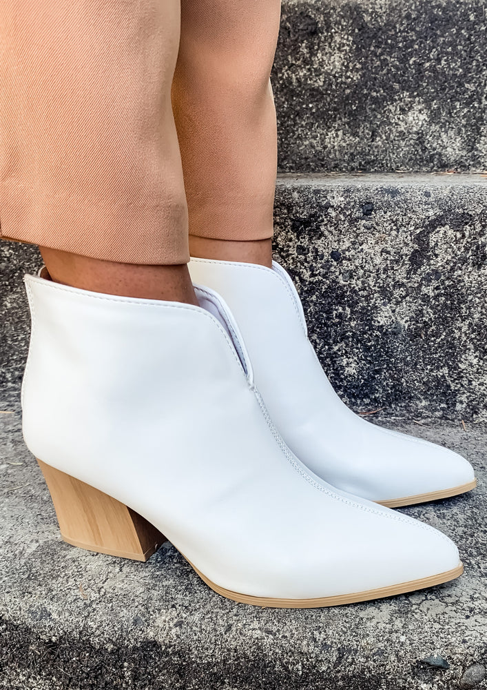 White Block Heel Booties - Lilac&Lemon