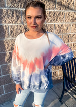 Pink and Navy Tie Dye Pullover