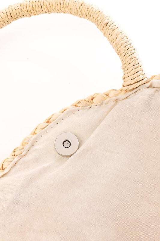 Straw Circle Bag - Lilac&Lemon