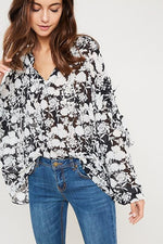 Black and White Floral Blouse