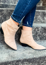 Taupe Low Heel Booties