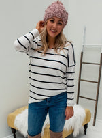 Black and White Striped Tunic - Lilac&Lemon