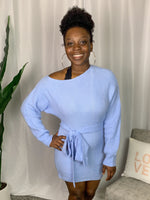 Blue Off the Shoulder Sweater Dress