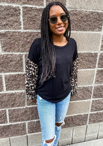 Black Leopard Print Sleeve Top