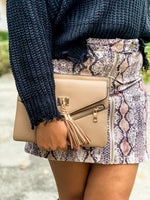 Taupe Cross Body Tassel Bag