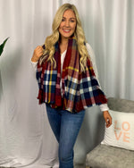 Red & Navy Blanket Scarf