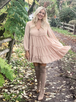 Ruffle Babydoll Long Sleeve Dress