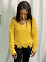 Mustard Frayed Sweater - Lilac&Lemon