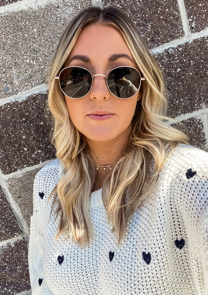 Gold Circle Lens Sunglasses - Lilac&Lemon