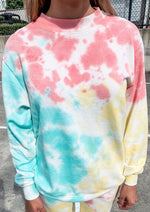 Coral and Mint Tie Dye Pullover