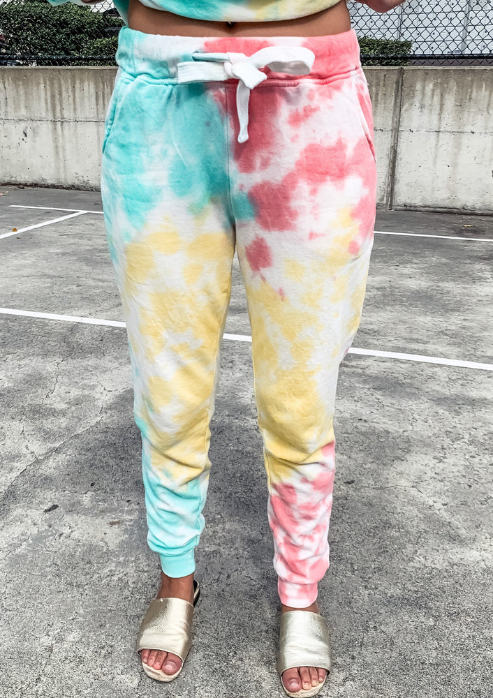 Coral and Mint Tie Dye Joggers - Lilac&Lemon