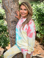 Coral and Mint Tie Dye Pullover - Lilac&Lemon