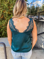 Green Lace Satin Cami - Lilac&Lemon