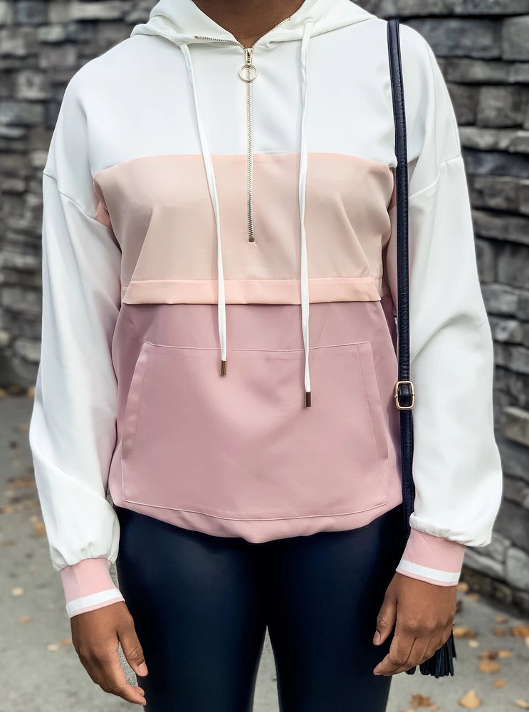 Pink Color Block Windbreaker - Lilac&Lemon