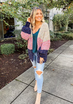 Silver and Navy Chenille Cardigan