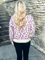 Purple and Yellow Leopard Print Sweater - Lilac&Lemon