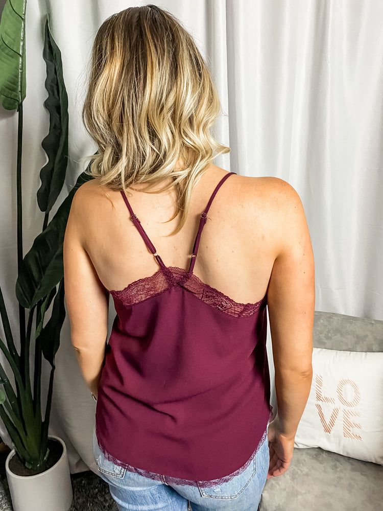 Burgundy Lace Trim Cami - Lilac&Lemon