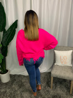 Hot Pink Frayed Sweater