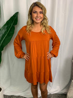 Pumpkin Tiered Long Sleeve Dress - Lilac&Lemon