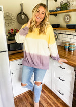 Ombré Purple and Yellow Tie Dye Sweater
