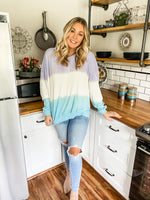 Ombré Mint and Purple Tie Dye Sweater - Lilac&Lemon