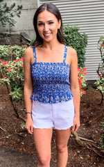 Blue Smocked Tank Top