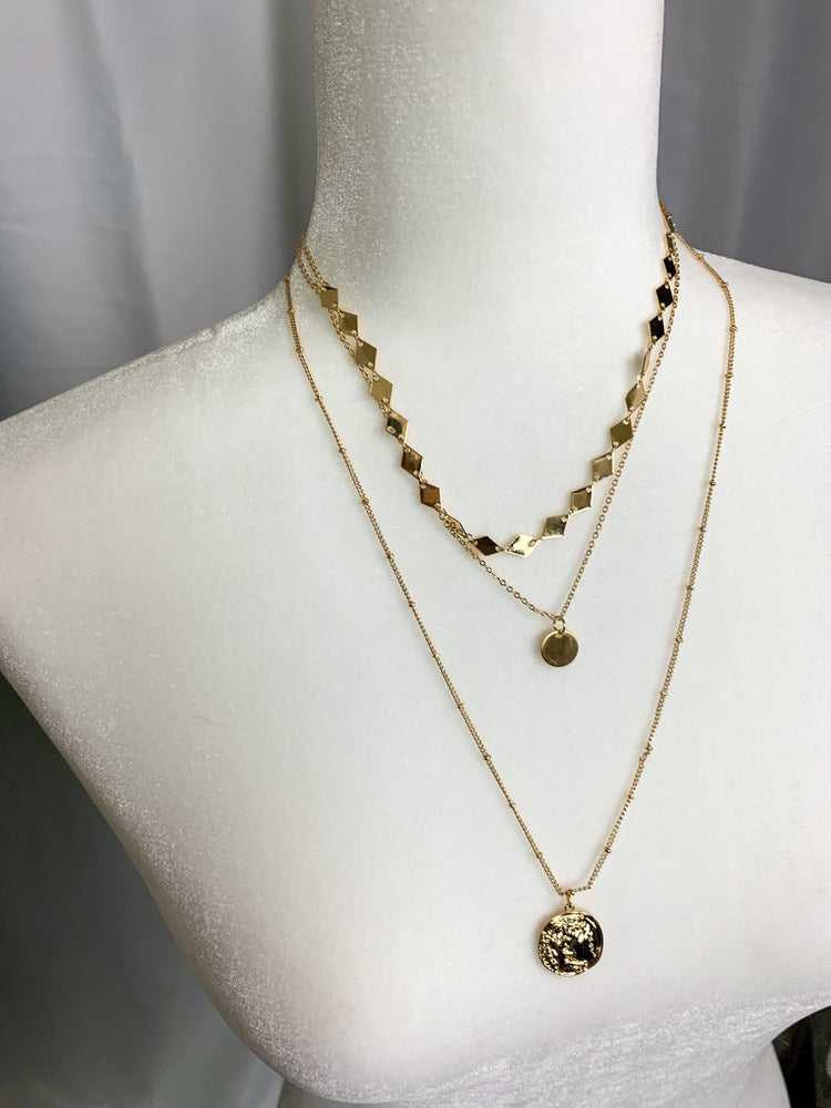 Gold Layered Necklace + Earrings Combo
