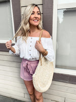 White Peasant Crop Top