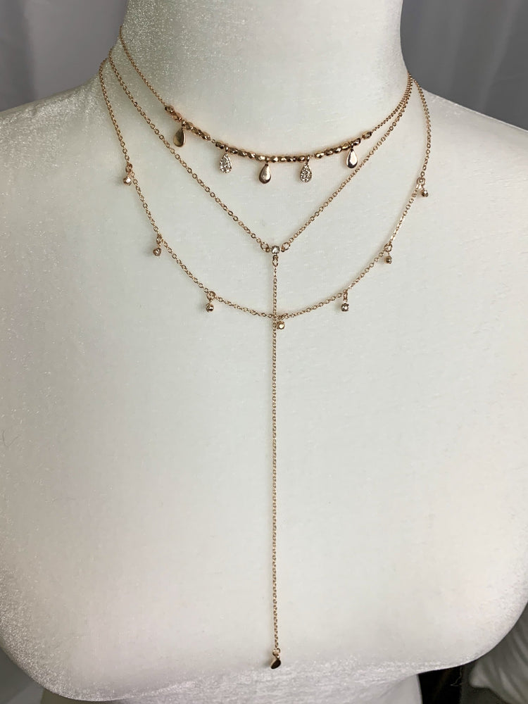Layered Rose Gold Drop Necklace