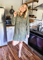 Olive Corduroy Shirt Dress
