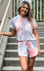 Grey and Coral Tie Dye Short Set