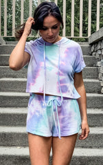 Teal and Purple Tie Dye Short Set