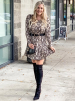 Long Sleeve Snakeskin Print Dress