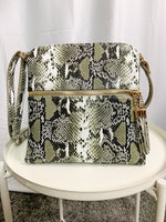 Khaki Snakeskin Crossbody Bag - Lilac&Lemon