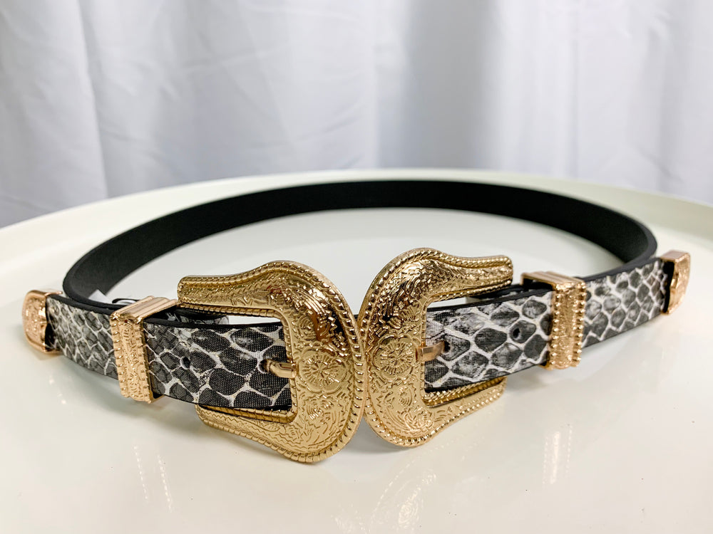 Snakeskin Duo Buckle Belt - Lilac&Lemon
