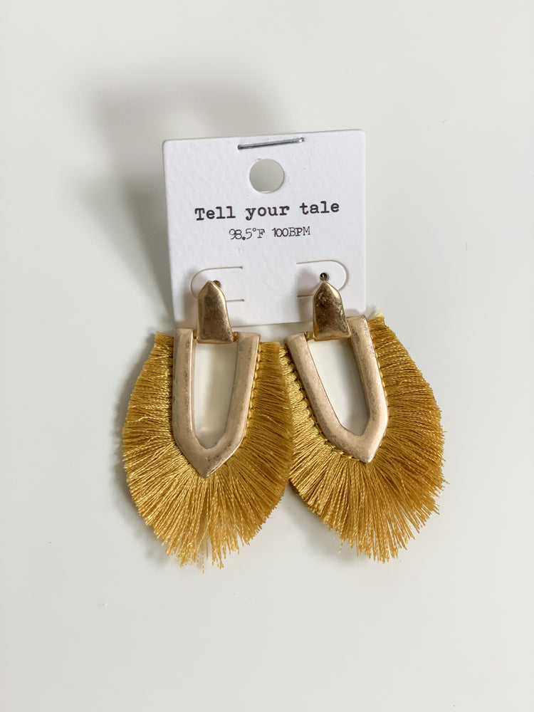 Mustard Drop Tassel Earrings