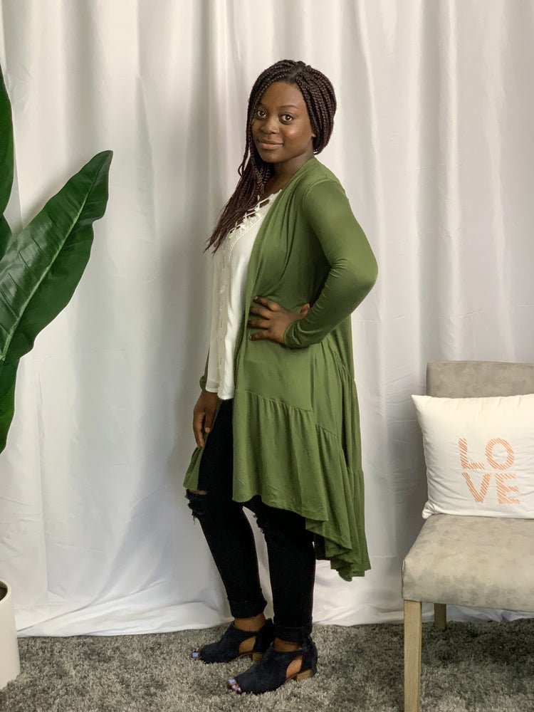 Olive Tiered Ruffle cardigan