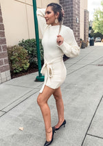 Cream Off The Shoulder Long Sleeve Sweater Dress