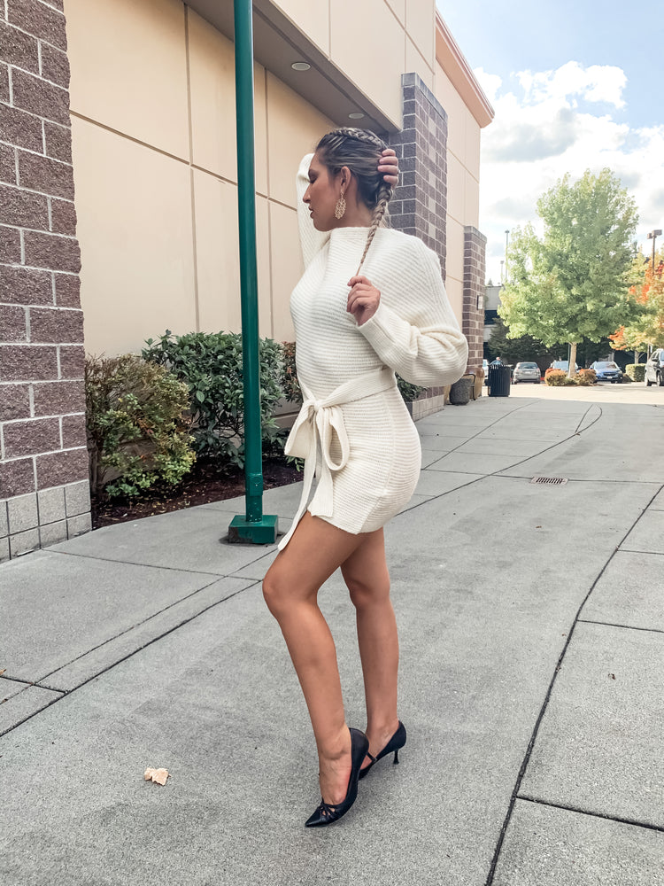 Cream Off The Shoulder Long Sleeve Sweater Dress - Lilac&Lemon