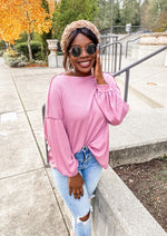 Pink Boat Neck Bishop Sleeve Top