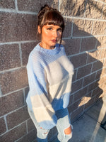 Blue and White Textured Sweater - Lilac&Lemon